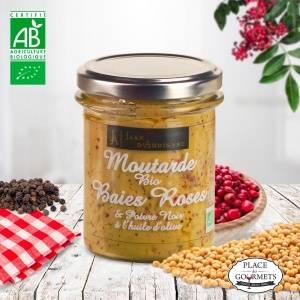 Moutarde bio aux baies roses