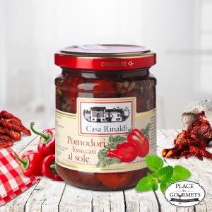Tomates séchées au soleil à l'huile d'olive extra vierge, basilic, origan et piment fort