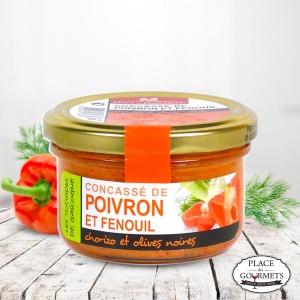 Concassé de poivron et fenouil, chorizo et olives noires