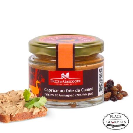 Caprice au foie de canard, raisins et armagnac (20% foie gras)